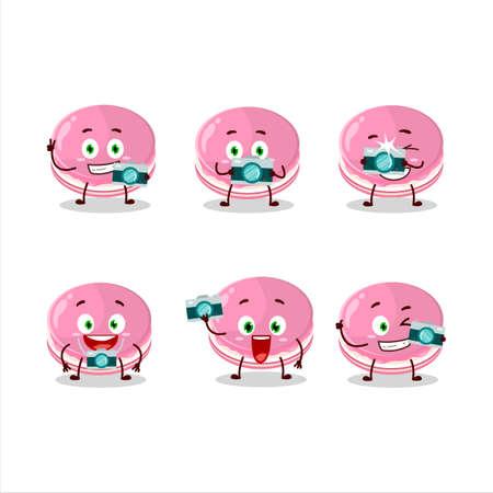 Photographer profession emoticon with strawberry dorayaki cartoon character