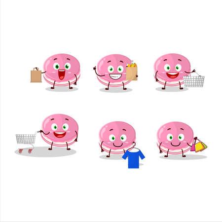 A Rich strawberry dorayaki mascot design style going shopping