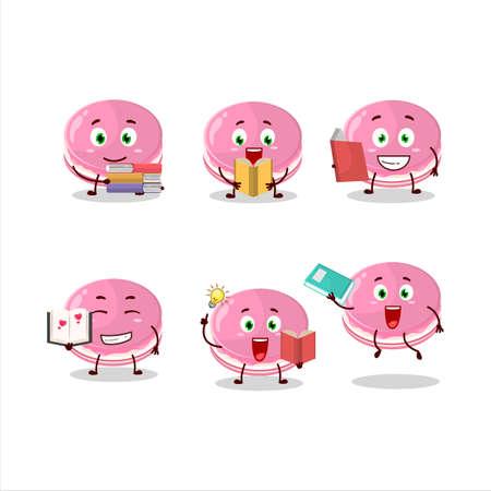 A picture of strawberry dorayaki cartoon character concept reading an amusing book Illusztráció