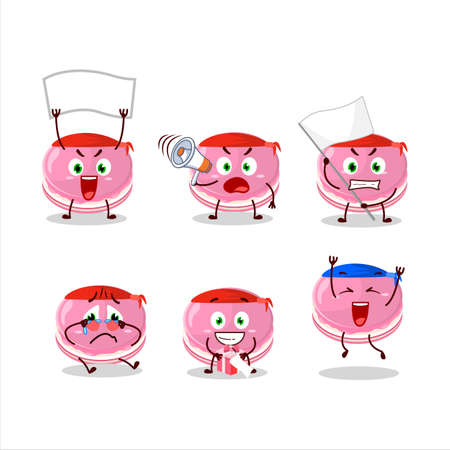 Mascot design style of strawberry dorayaki character as an attractive supporter Illusztráció