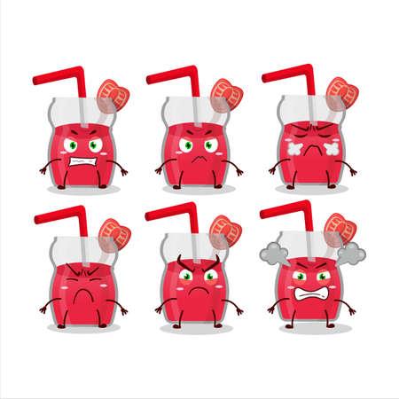 Strawberry juice cartoon character with various angry expressions Illusztráció