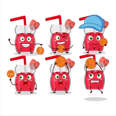 Talented strawberry juice cartoon character as a basketball athlete