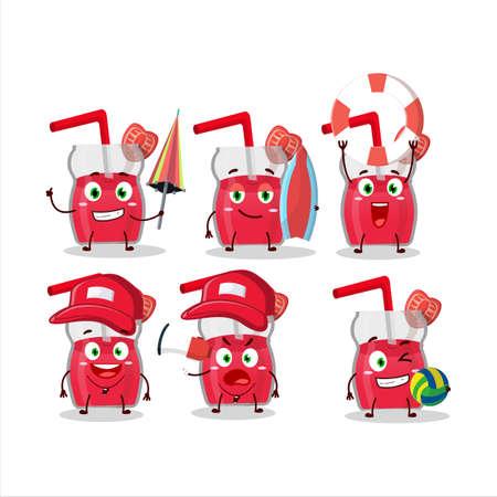 Happy Face strawberry juice cartoon character playing on a beach Illusztráció