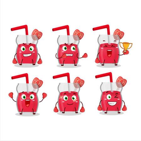 A sporty strawberry juice boxing athlete cartoon mascot design