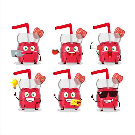 Strawberry juice cartoon character with various types of business emoticons