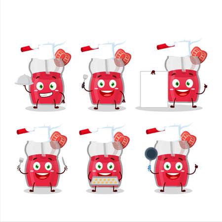 Cartoon character of strawberry juice with various chef emoticons Illusztráció