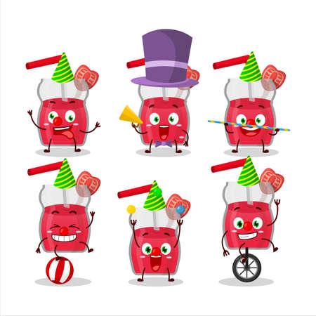 Cartoon character of strawberry juice with various circus shows Illusztráció