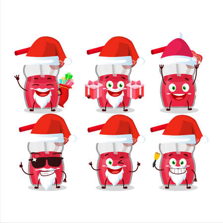 Santa Claus emoticons with strawberry juice cartoon character