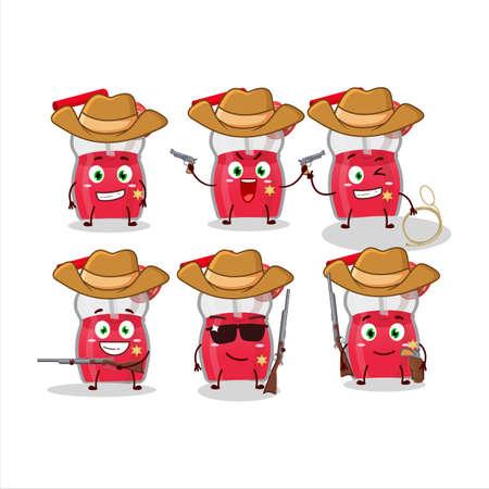 Cool cowboy strawberry juice cartoon character with a cute hat Illusztráció