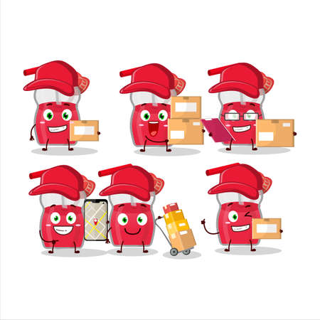 Cartoon character design of strawberry juice working as a courier Illusztráció