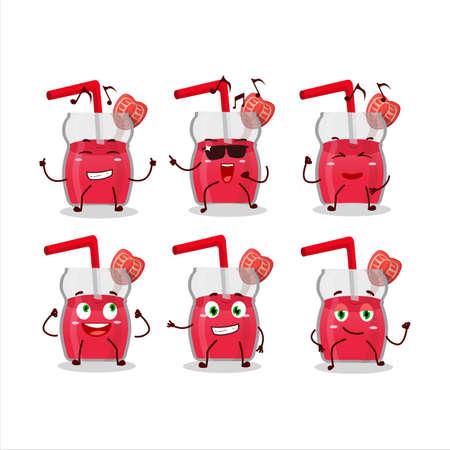 An image of strawberry juice dancer cartoon character enjoying the music