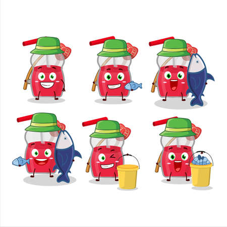 A fisherman strawberry juice cartoon picture catch a big fish