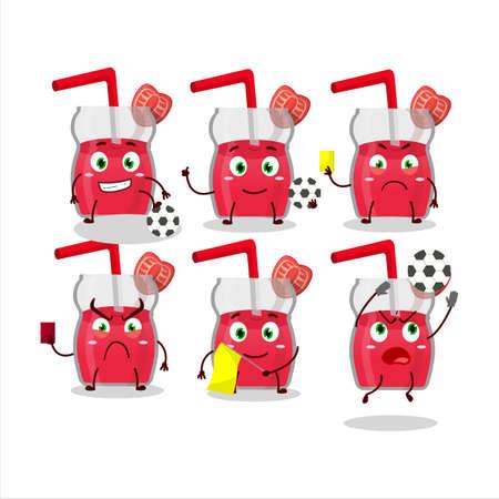 Strawberry juice cartoon character working as a Football referee Illusztráció