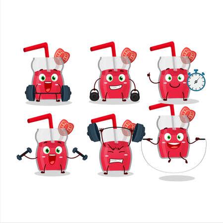 A healthy strawberry juice cartoon style trying some tools on Fitness center Illusztráció