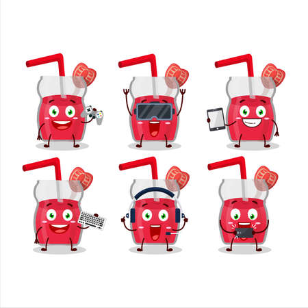 Strawberry juice cartoon character are playing games with various cute emoticons