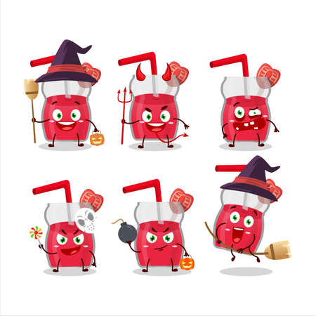 Halloween expression emoticons with cartoon character of strawberry juice