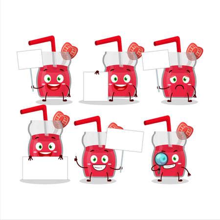 Strawberry juice cartoon character bring information board Illusztráció