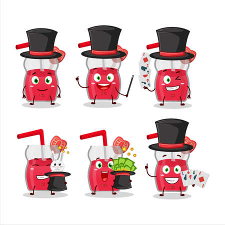 A strawberry juice Magician cartoon character perform on a stage