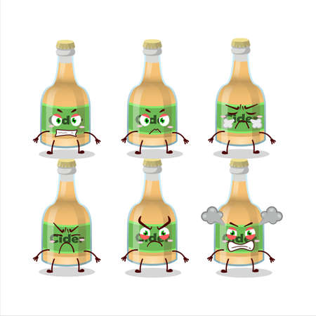 Cider bottle cartoon character with various angry expressions Ilustracja