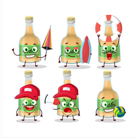 Happy Face cider bottle cartoon character playing on a beach. Vector illustration Ilustracja