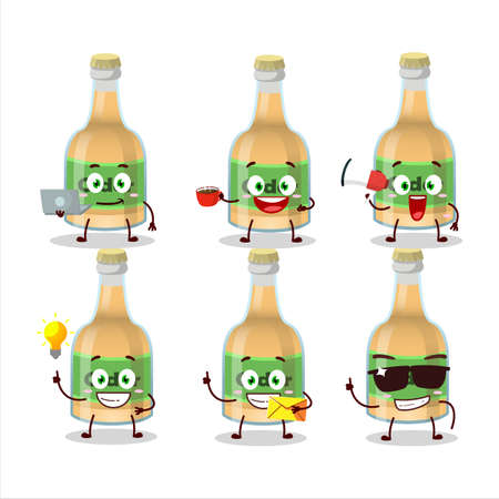 Cider bottle cartoon character with various types of business emoticons. Vector illustration
