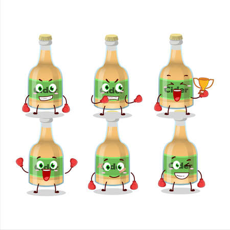 A sporty cider bottle boxing athlete cartoon mascot design
