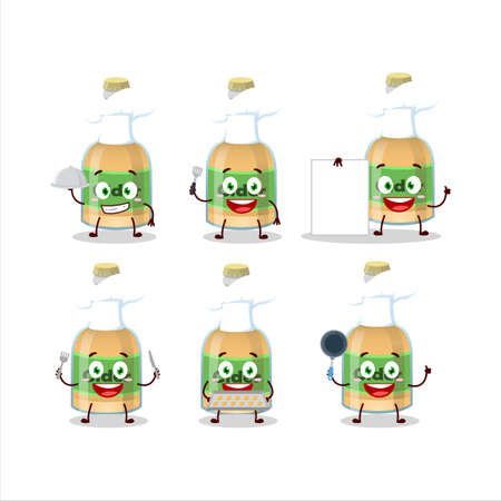 Cartoon character of cider bottle with various chef emoticons