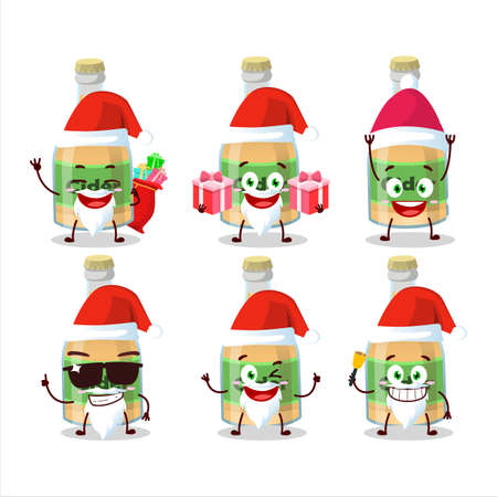 Santa Claus emoticons with cider bottle cartoon character Ilustracja