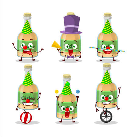 Cartoon character of cider bottle with various circus shows. Vector illustration