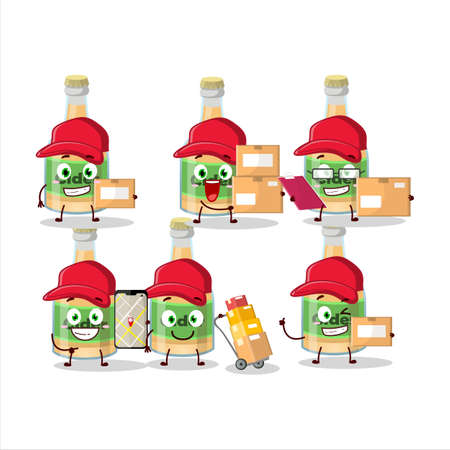 Cartoon character design of cider bottle working as a courier. Vector illustration Ilustracja