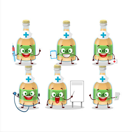 Doctor profession emoticon with cider bottle cartoon character. Vector illustration