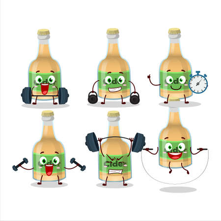 A healthy cider bottle cartoon style trying some tools on Fitness center