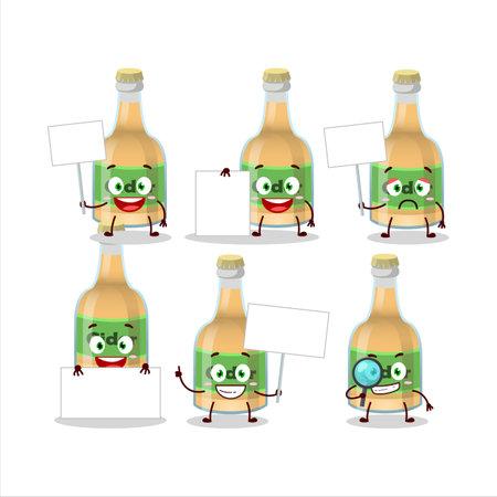 Cider bottle cartoon character bring information board. Vector illustration