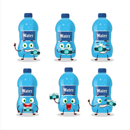 Photographer profession emoticon with water bottle cartoon character