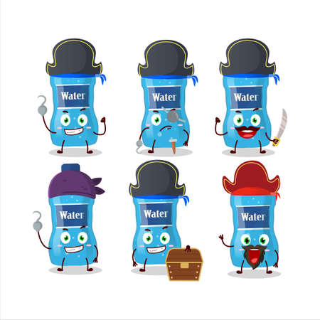 Cartoon character of water bottle with various pirates emoticons