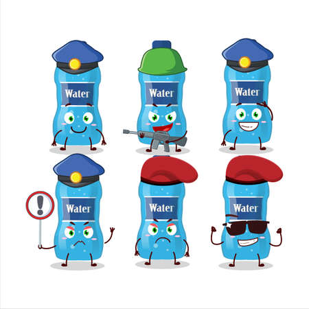 A dedicated Police officer of water bottle mascot design style Ilustracja