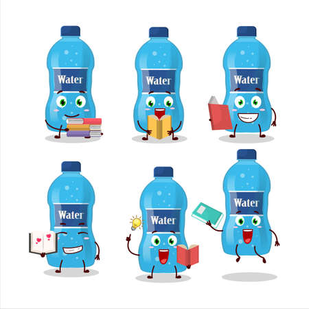 A picture of water bottle cartoon character concept reading an amusing book Ilustracja