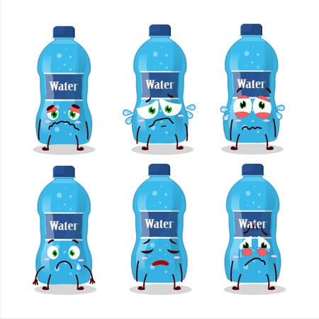 Water bottle cartoon character with sad expression