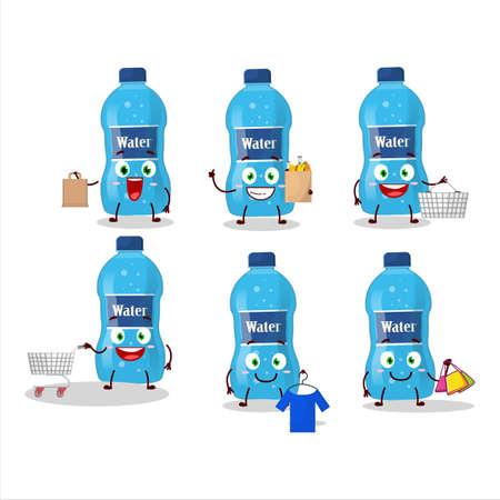 A Rich water bottle mascot design style going shopping