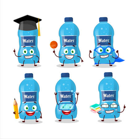 School student of water bottle cartoon character with various expressions. Vector illustration