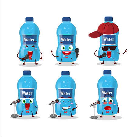 A Cute Cartoon design concept of water bottle singing a famous song. Vector illustration Ilustracja