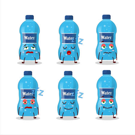 Cartoon character of water bottle with sleepy expression Ilustracja