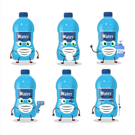 A picture of water bottle cartoon design style keep staying healthy during a pandemic