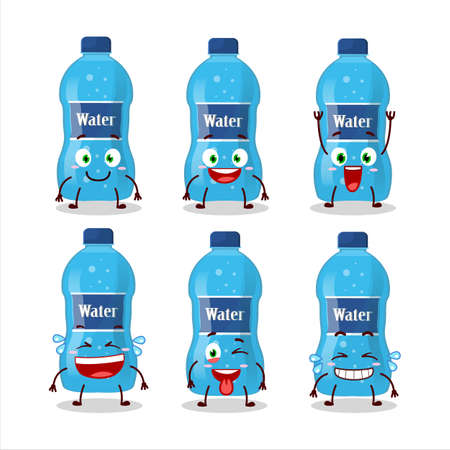 Cartoon character of water bottle with smile expression. Vector illustration