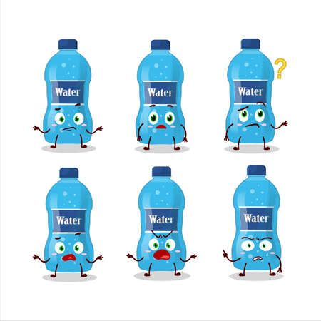 Cartoon character of water bottle with what expression Ilustracja