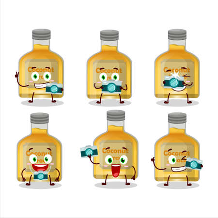Photographer profession emoticon with coconut arrack cartoon character