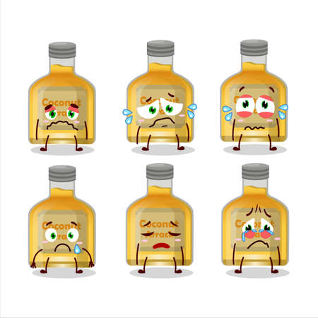 Coconut arrack cartoon character with sad expression Vecteurs