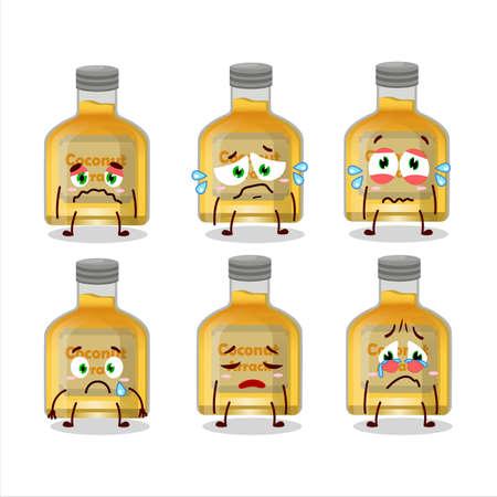 Coconut arrack cartoon character with sad expression Ilustracja