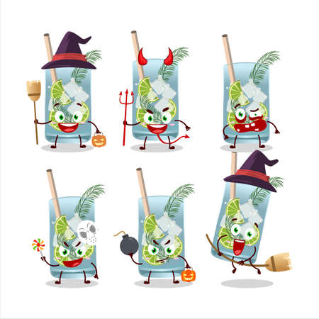 Halloween expression emoticons with cartoon character of gin tonic Ilustracja