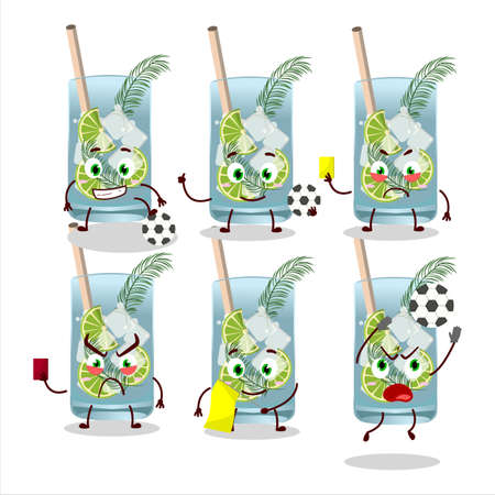 Gin tonic cartoon character working as a Football referee